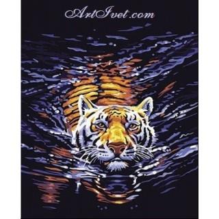 Pictura pe numere - Tigrul in apa