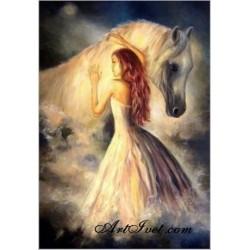 Pictura pe numere - Fata si calul alb