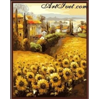 Pictura pe numere - Prin campul cu floarea soarelui