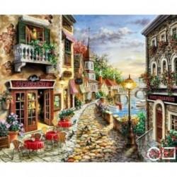 Pictura pe numere - Restaurant romantic pe straduta de pe coasta