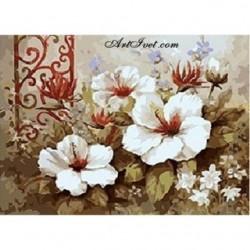 Pictura pe numere - Flori in alb si maro