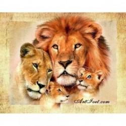 Pictura pe numere – Portretul cu familia leului