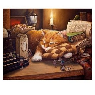 Pictura pe numere - Nu treziti pisicuta Vasia