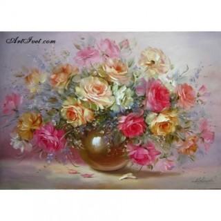 Pictura pe numere - Trandafiri colorati si aromatici