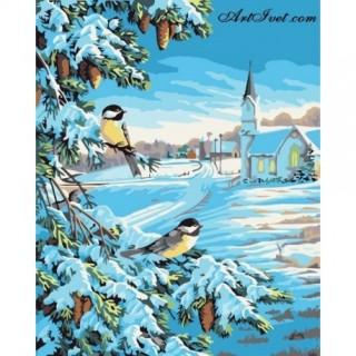 Pictura pe numere - Miros de iarna si de conuri de brad