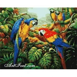 Pictura pe numere - Papagali in mijlocul junglei dense