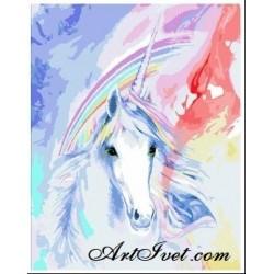 Pictura pe numere - Unicornul sub curcubeul