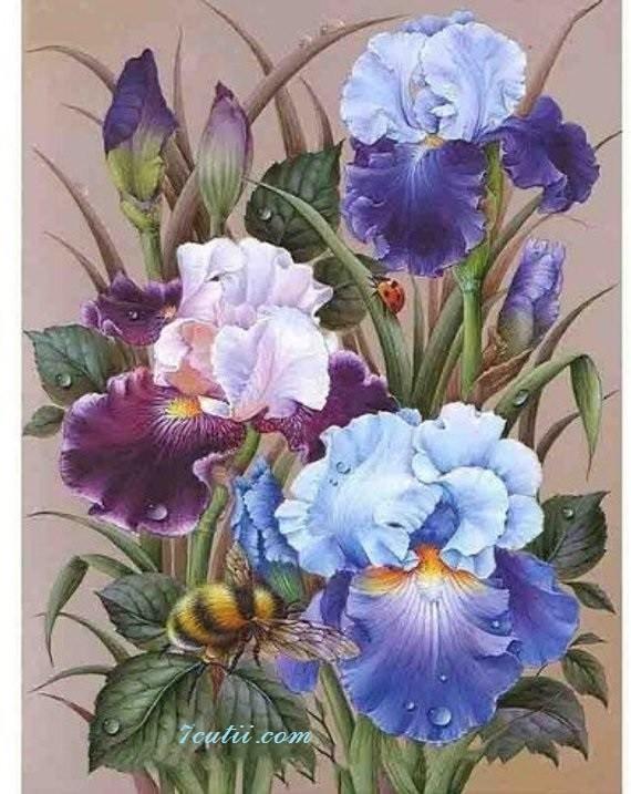 Goblen  de  diamante  Irisi in albastru: Dimensiuni si tip - 60x45 cm Margele Rotunde (Circulare)