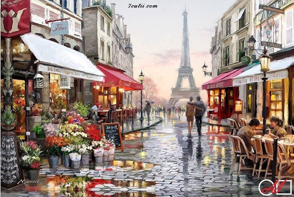 Goblen  de  diamante Straduta care duce la turnul Eiffel: Dimensiuni si tip - 30x20 cm Margele Patrate