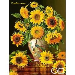 Goblen de diamante Vaza cu floarea soarelui