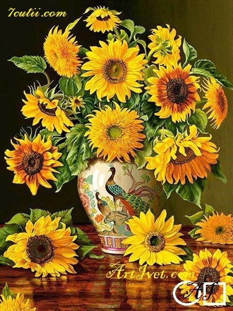 Goblen  de  diamante  Vaza cu floarea soarelui: Dimensiuni si tip - 48x36 cm Margele Rotunde (Circulare)
