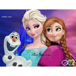 Goblen de diamante Elsa, Anna si Olaf