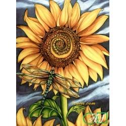 Goblen de diamante Floarea soarelui si libelula