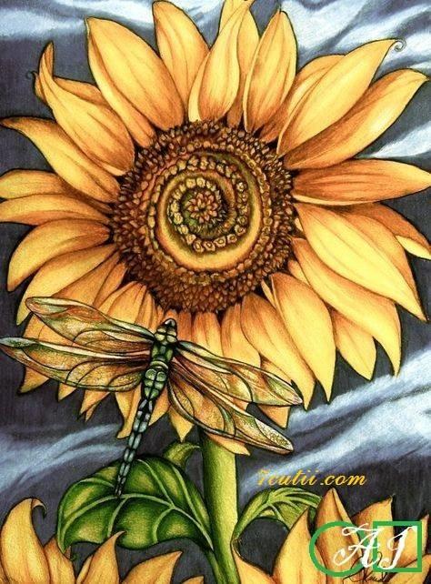 Goblen  de  diamante  Floarea soarelui si libelula: Dimensiuni si tip - 25x20 cm Margele Patrate